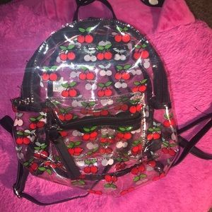 Cherry clear mini backpack